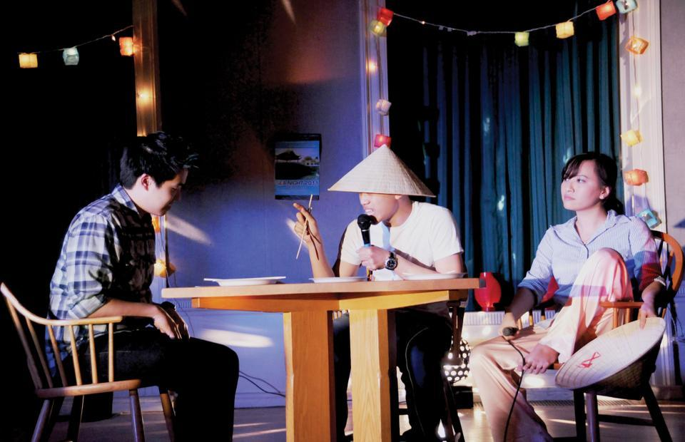 Michael Trang '14, Huy Nguyen '10 and Megan Le '11 of the Harvard Vietnamese Association perform a skit depicting the clash between traditional and new familial values.