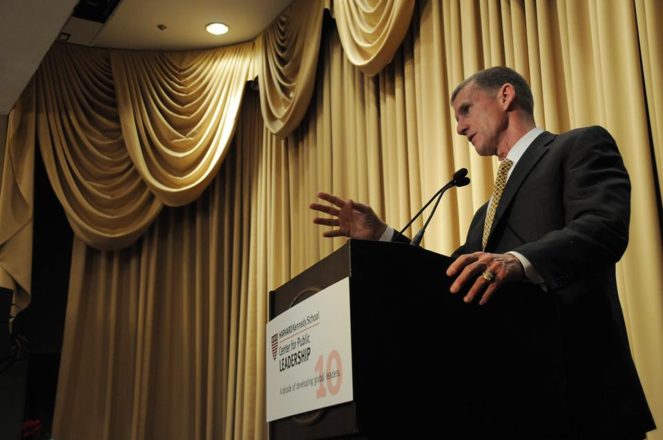Retired General Stanley A. McChrystal delivers the keynote speech at Honoring Those Who Have Served, an event honoring Harvard's veterans at the Sheraton Commander Hotel yesterday. The event was organized by the Harvard Center for Public Leadership. David T. Ellwood, Dean of Harvard Kennedy School and David R. Gergen, Director of the Center for Public Leadership also delivered remarks.