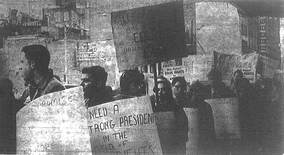 Students demonstrate to show their solidarity with the movement to desegregate movie theaters.