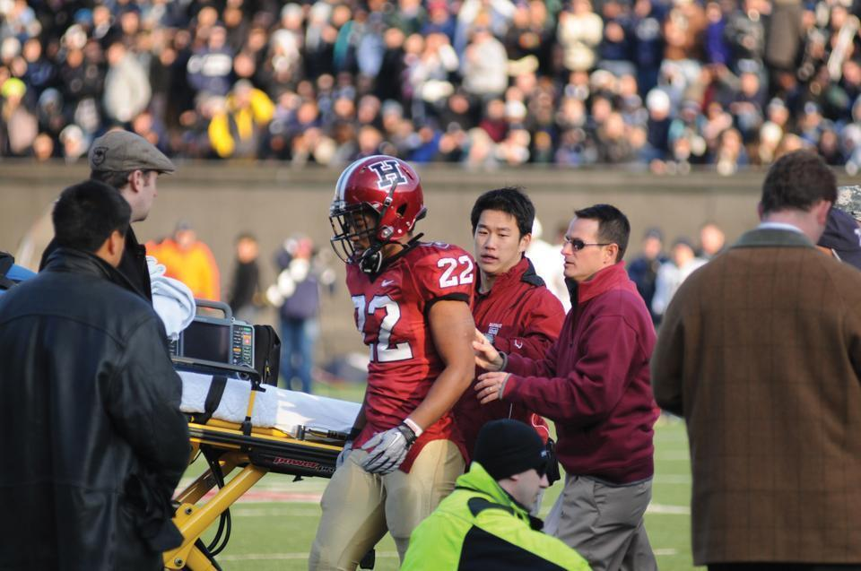 After a head-to-head collision with Yale's Jesse Reising in the 2010 playing of The Game, senior Gino Gordon laid on the ground for several minutes before standing up again, only to be put on a stretcher and taken to the hospital. Situations like these put the brain in serious danger.