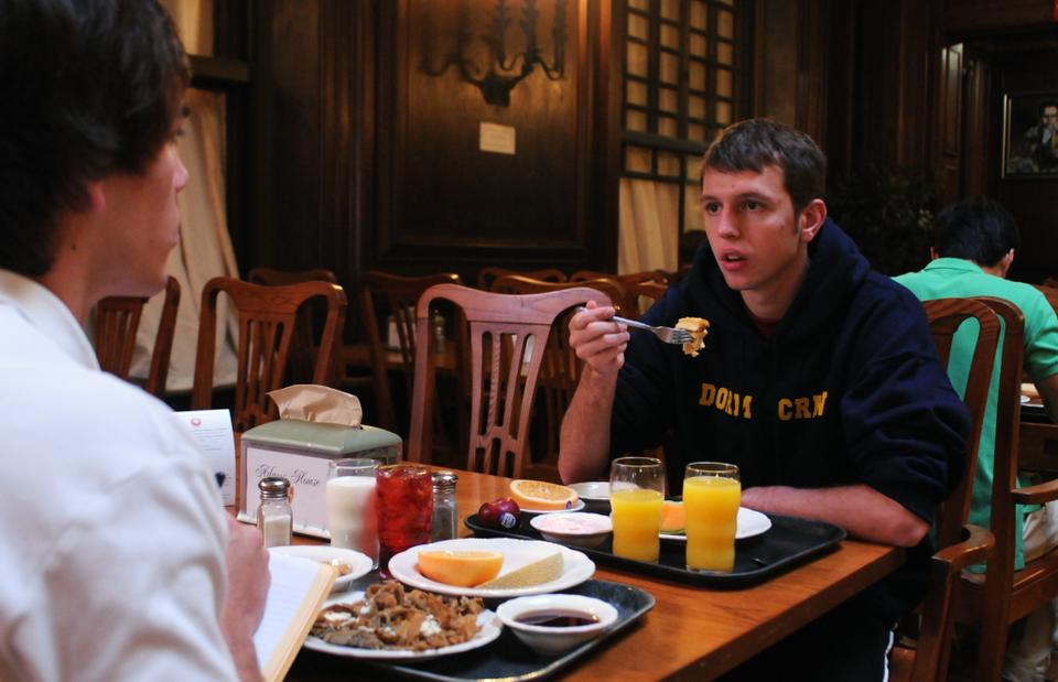 MAY 2009: Harvard University Hospitality and Dining Services announces that it will eliminate most hot breakfast options in the residential houses beginning the following semester as part of a series of budget cuts across the Faculty of Arts and Sciences. Other cuts include the closure of two campus cafes, the downgrading of three junior varsity teams to club status, and reduced shuttle service.