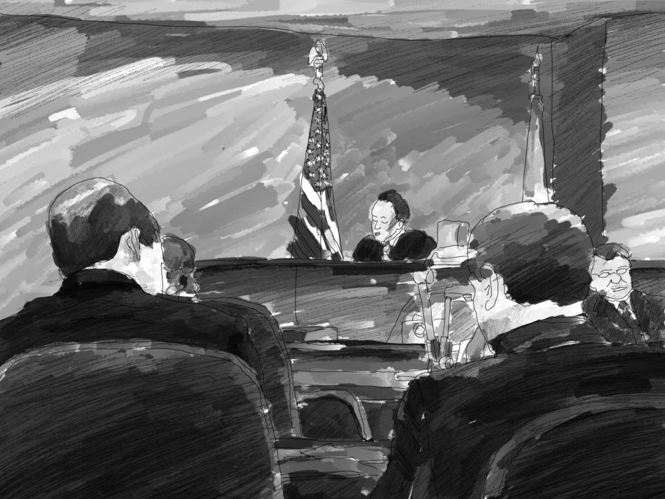 Illustration of the courtroom during the Copney trial for the murder of Justin Cosby.