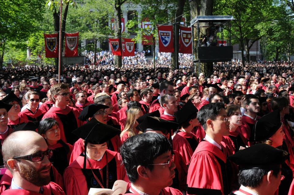 Thousands of Harvardians fill Tercentenary Theatre for the morning exercises of Commencement Day, 2011.