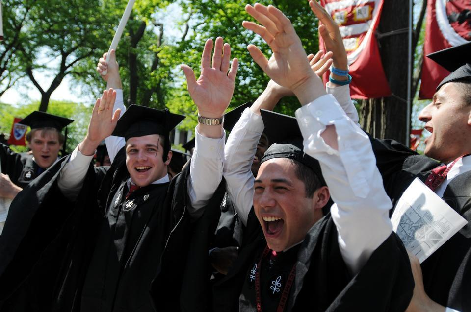 Joseph C. Higgins '11 and his friends celebrate the conferral of their degrees near the close of Morning Exercises.