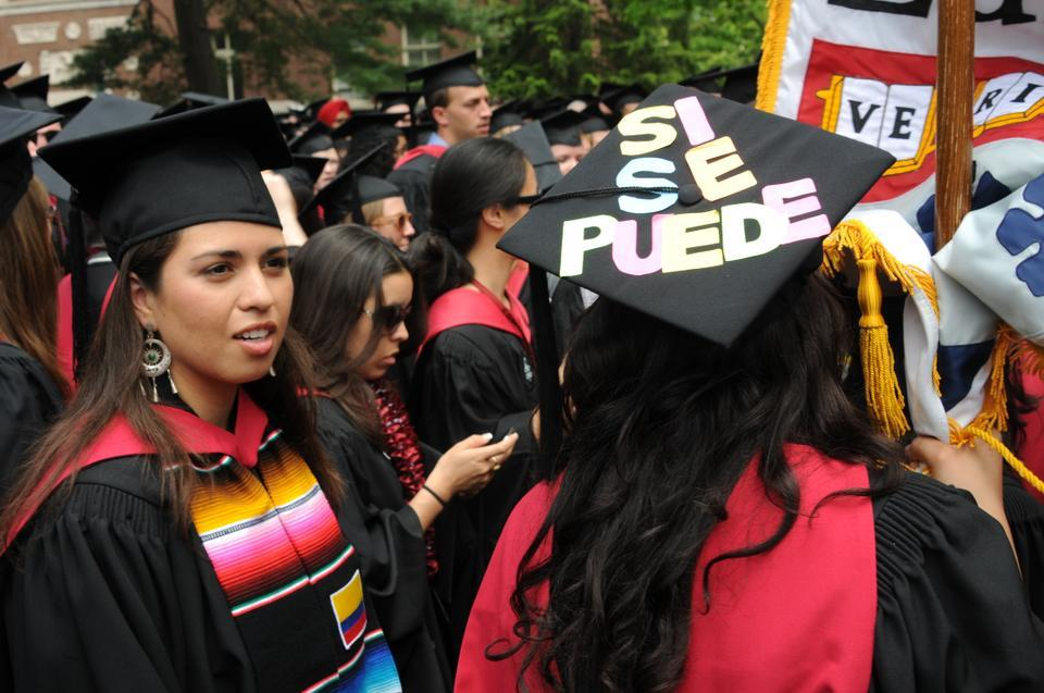Dianne Sánchez and Silvia Rodriguez Vega  received their Master's degrees in Arts in Education. Silvia is undocumented and an immigrant rights activist. Her mortarboard borrows the dictum of Cesar Chavez.