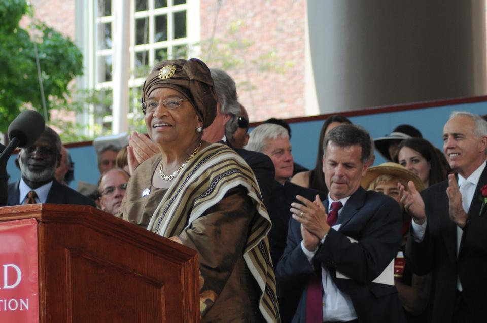 "Kennedy School of Government alumna and the President of Liberia, Ellen Johnson Sirleaf, was awarded an honorary degree during the morning exercises of Commencement on Thursday. In the afternoon she delivers a speech to the Harvard Alumni Association in which she encourages its newest members to ""resist cynicism."""