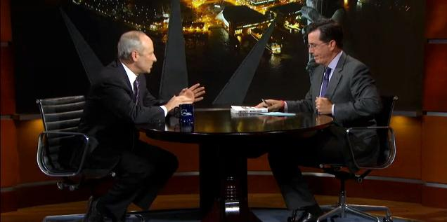 Professor Michael J. Sandel is interviewed by Stephen Colbert on his Comedy Central show.