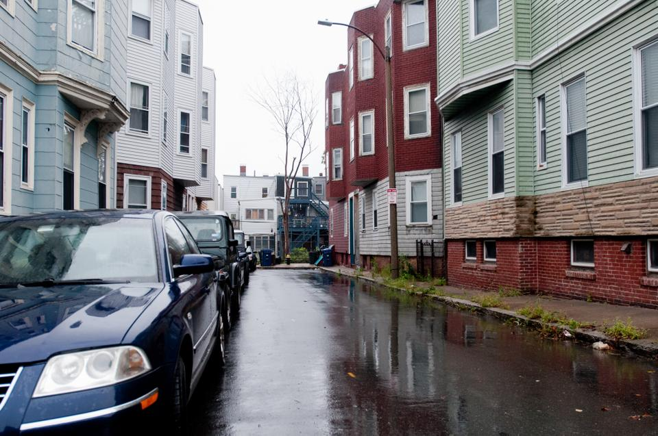 Some of the many brown stones and apartments that line the streets of south Boston.