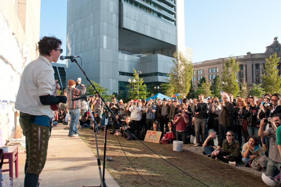 Amanda Palmer, of The Dresden Dolls fame, performs for fans and supporters of the protest today.