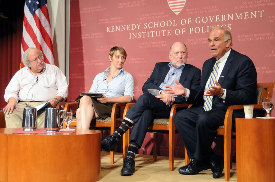 Former governor of Pennsylvania Ed Rendell, right, joins Todd Gitlin '63, Chair of Columbia's PhD Communications PhD department, and Vanessa Williamson, a PhD candidate in Government and Social Policy, for a panel discussion about the Occupy Wall Street movement at the JFK Jr. Forum yesterday. Marshall Ganz, a senior lecturer at the Kennedy School, moderated the discussion.