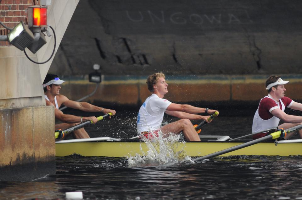 The Harvard men's heavyweight crew came in first place in the Championship Eight event at the Head of the Charles Regatta.