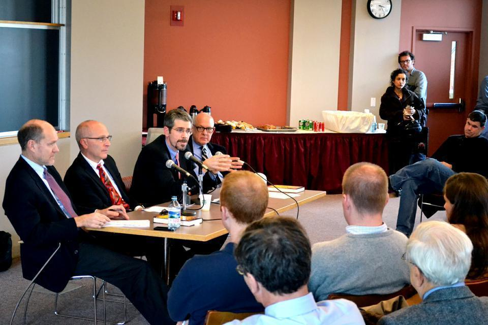 """Eric Schmitt discusses his new book, """"Counterstrike: The Untold Story of America's Secret Campaign Against Al Qaeda"""", co-authored by fellow New York Times reporter, Thom Shanker, at a seminar hosted by the Harvard Kennedy School."""
