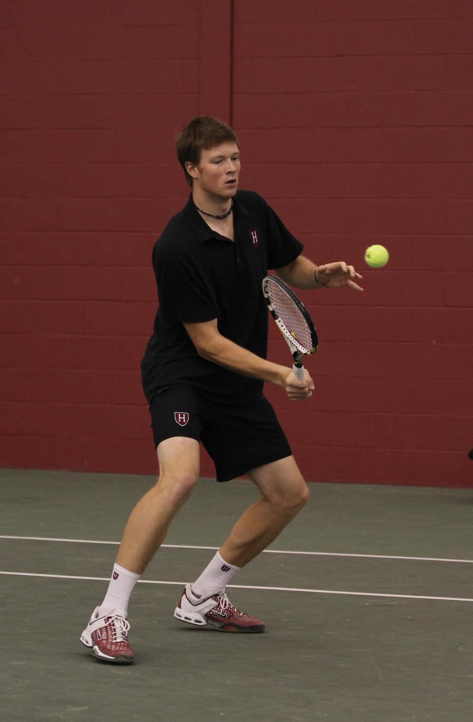 Shown here in earlier play, sophomore Casey MacMaster joined with freshman Denis Nguyen to make up the top seeded doubles team during this weekend's Halloween Invitational, but the two fell in a walkover to Crimson rookies Henry Steer and Alex Steinroeder—who also won the Flight A singles.