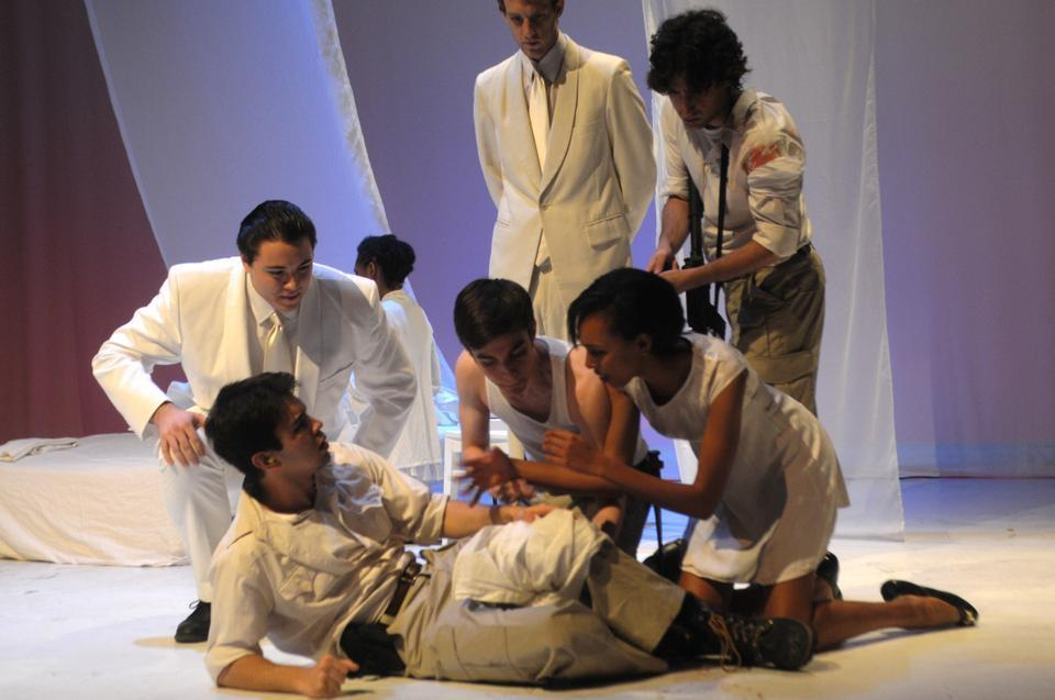 Cassio is severely wounded by Roderigo. Hearing his cries for help, the Cyprus prostitute Bianca (Simone E. Polanen '14) and the soldiers tend to him.