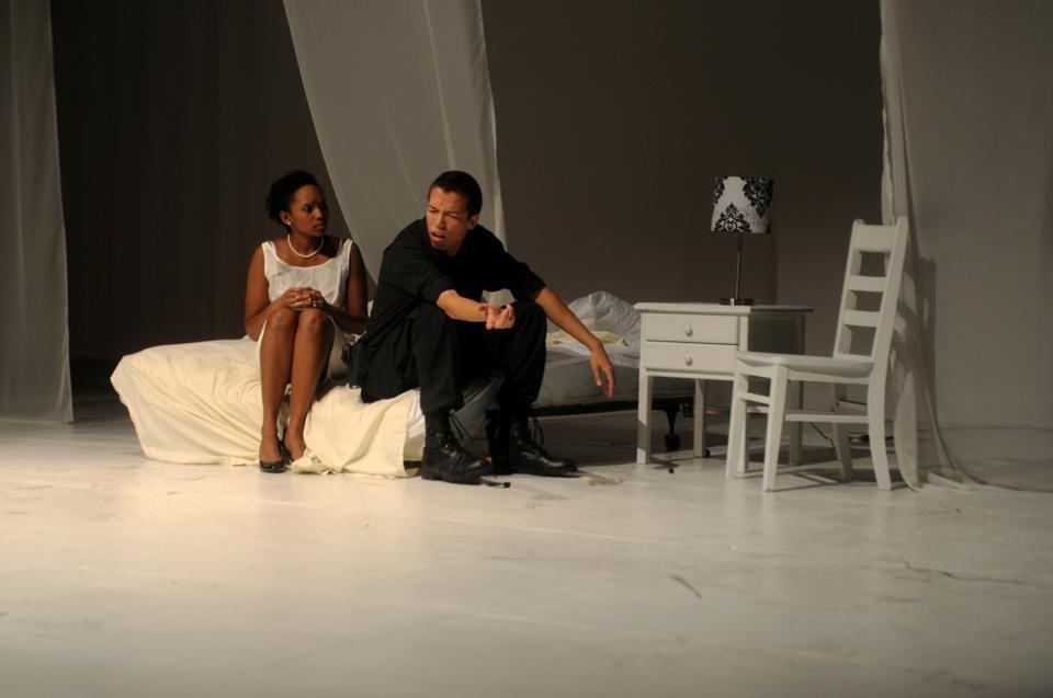 Othello (Spencer J. Horne '14) accuses his wife, Desdemona, of infidelity.