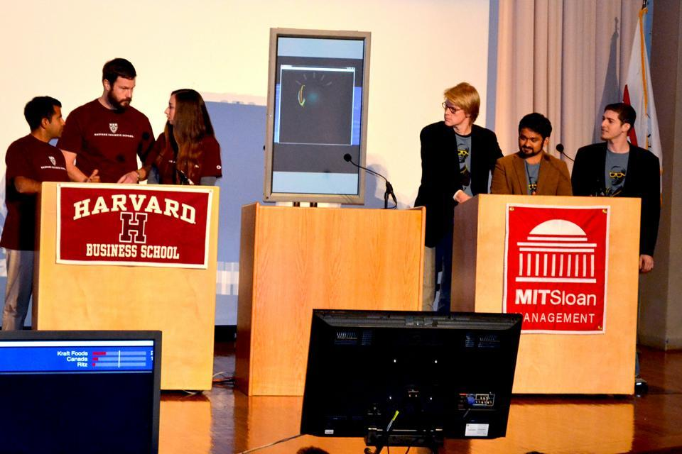 """Students from Harvard Business School and MIT Sloan School of Management face off against """"Watson"""", a question answering machine built by IBM, in a game of Jeopardy."""