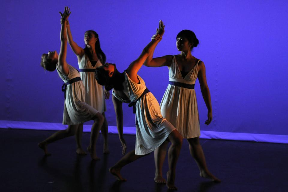 """Dancers collaborate in """"Just Thinking,"""" choreographed by Megan G. Murdock '14 to the song """"The Wilhelm Scream"""" by James Blake."""