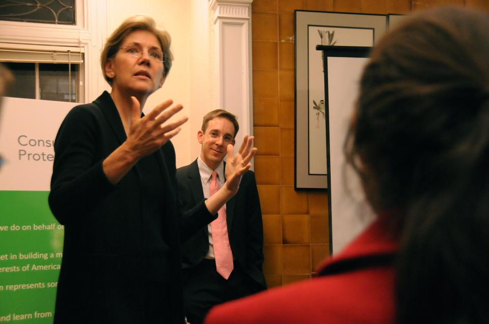 Elizabeth Warren talks about the innovative nature of the Consumer Financial Protection Bureau to an audience at OCS yesterday.