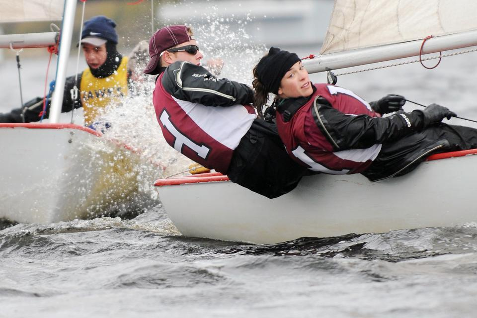 The Harvard co-ed sailing team, shown here in earlier action, struggled on its way to a ninth place at the team-racing style Hap Moore Trophy at the United States Coast Guard Academy, and in sixth place out of six teams at the Mike Horn Trophy at Harvard last weekend.