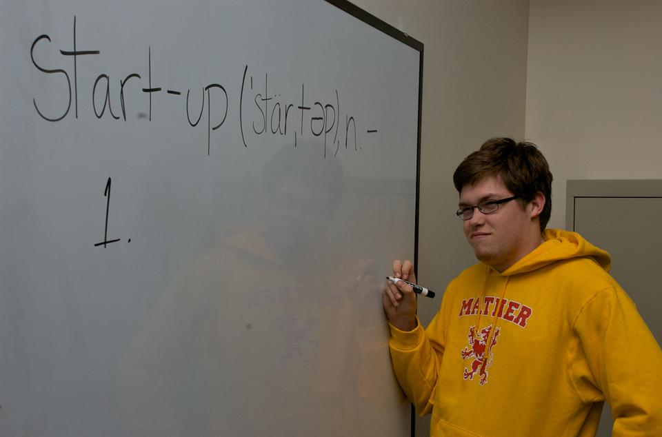 "Anthony A. Palillo '14 illustrates the confusion associated with the difficult task of defining the constantly evolving term, ""start-up,"" in the New Media Room of Mather House."