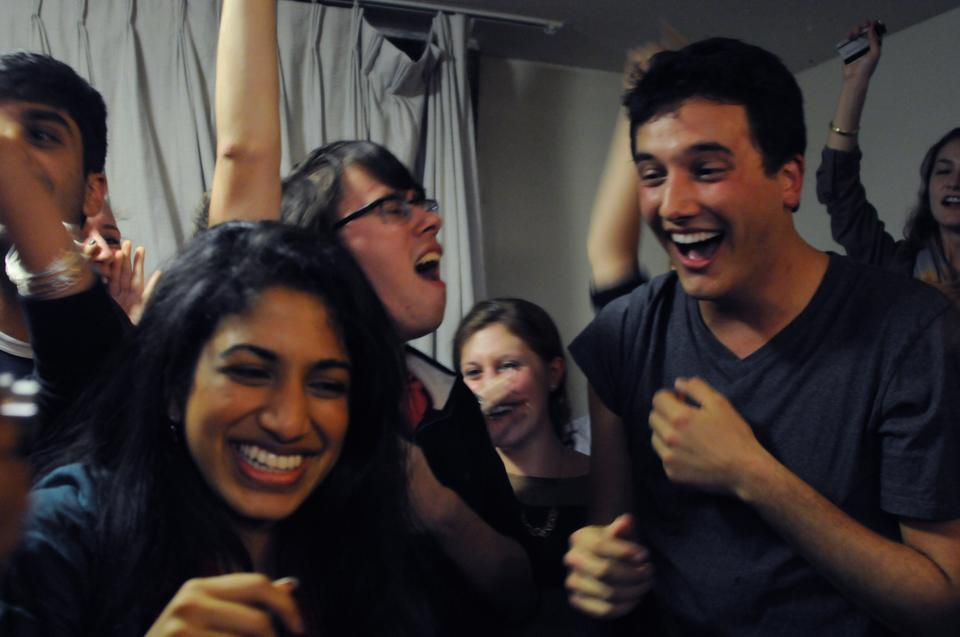 Danny Bicknell '13 and  Pratyusha Yalamanchi '13 celebrate after receiving news that they had won the election to become the next President and Vice President of the Undergraduate Council.
