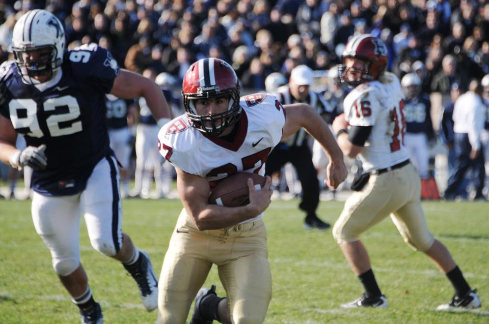 27' Zach Boden had 83 yards from scrimmage including a rushing touchdown as part of a balanced Harvard attack.