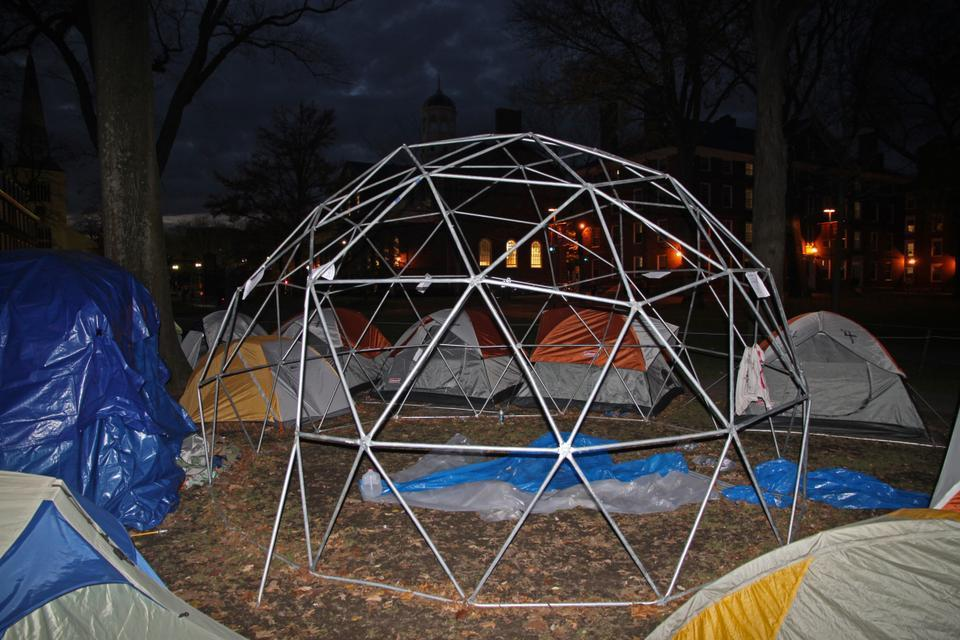 A geodesic dome stands at the center of the Occupy Harvard camp. While protesters are uncertain to what use they will put the dome, which was donated by supporters at MIT, they intend to cover and winterize the dome and use it as a semi-permanent structure.