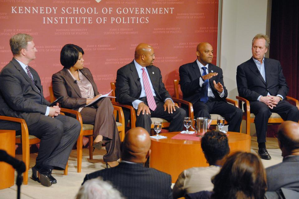 IOP Director Charles M. Grayson '94, left, moderates a panel discussion with some of the United State's most prominent mayors. The group discussed issues that are currently affecting the cities which they lead.