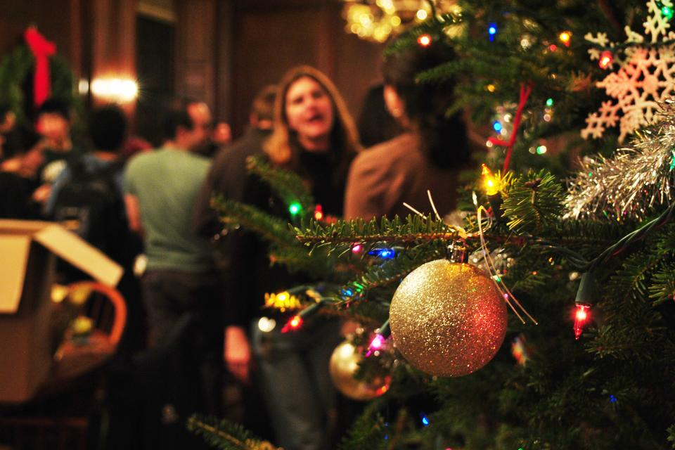 A twelve-foot tall Christmas tree is decorated, gallons of eggnog are consumed, and joy is brought to the world of Eliot D-Hall on Thursday evening in a Holiday kick-off celebration.