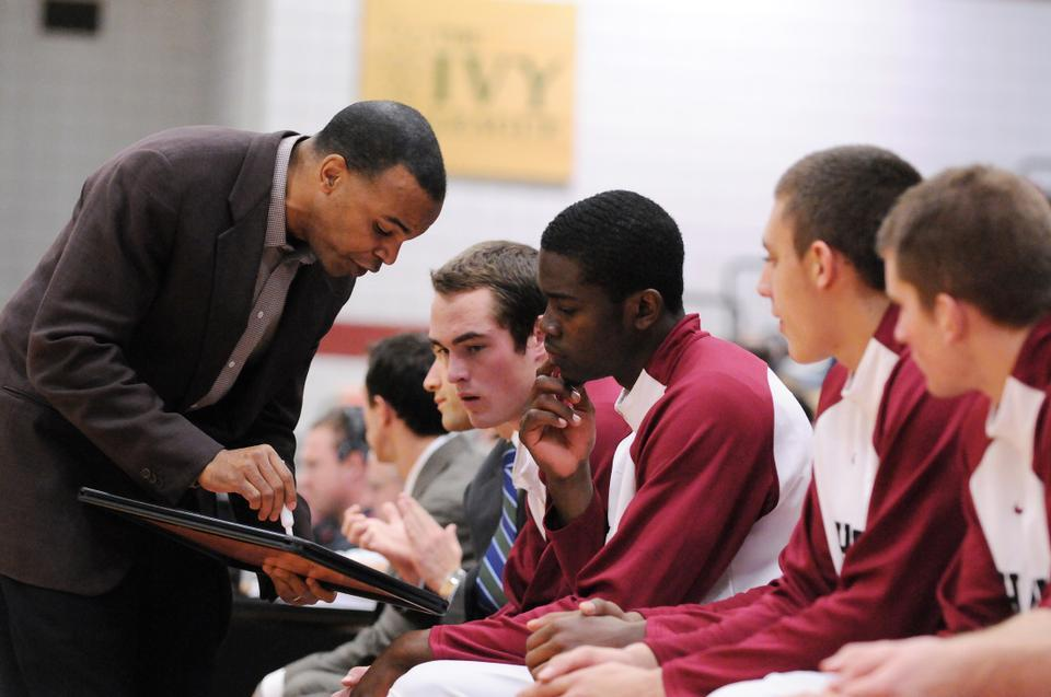 Harvard men's basketball coach Tommy Amaker speaks to his team during its matchup with Seattle Sunday. The No. 24/25 Crimson takes on No. 9 Connecticut on the road Thursday at 7 p.m.