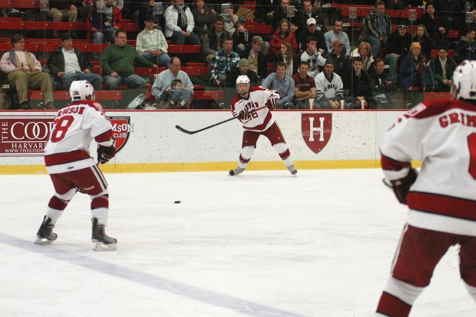 Shown here in earlier action, junior Alex Fallstrom (center) led the Crimson with two goals against No. 6 Boston University on Saturday night. Fallstrom's seven goals are second-best on the team this season.