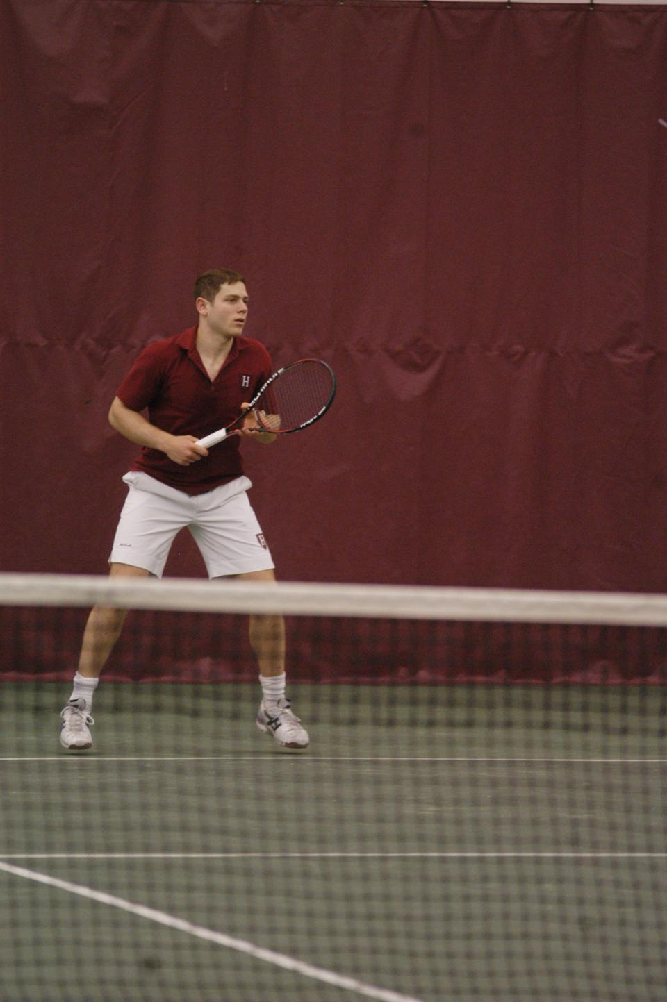 Senior Jonathan Pearlman, shown above in earlier action, and the Harvard men's tennis team had a strong performance at the Harvard Winter Invite this past weekend, winning 22 of 26 matches in singles play and 10 of 12 matches in doubles play against Marist and Fordham.