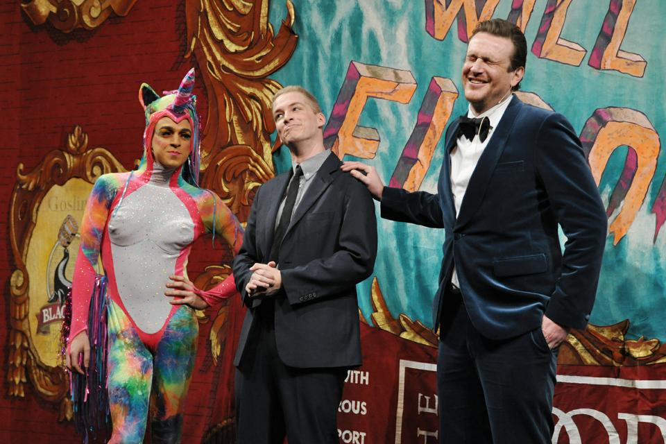 Jason Segel cracks up at a joke made by members of the Hasty Pudding Theatricals masquerading as Neil Patrick Harris and his unicorn.