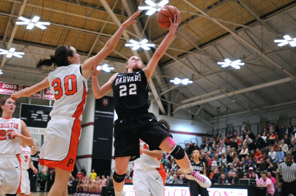 Sophomore guard Christine Clark drives to the basket against the stingy Princeton defense in the Saturday night contest at Lavietes Pavilion. Clark struggled against the Tigers, making only five of her 19 field goal attempts, but still managed 17 points in the Crimson's 85-56 loss.