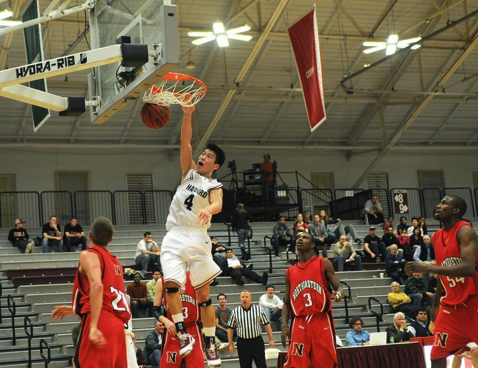 Seen here in a Harvard basketball game in 2008, Jeremy Lin '10 is one of the most prominent Harvard alums currently playing professional sports. Lin will address Harvard seniors as part of this year's virtual Commencement festivities.