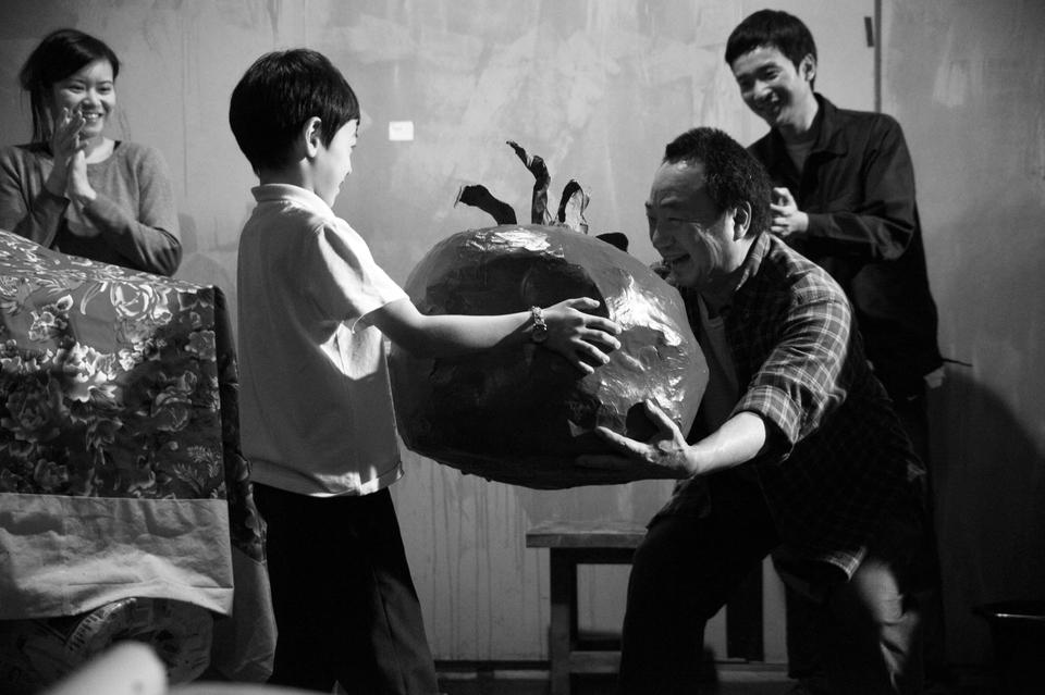 Katie Leug (left), Ron Nakahara (center), and Orion Lee (right), rehearse 'Wild Swans' in the ART in preparation for its premier