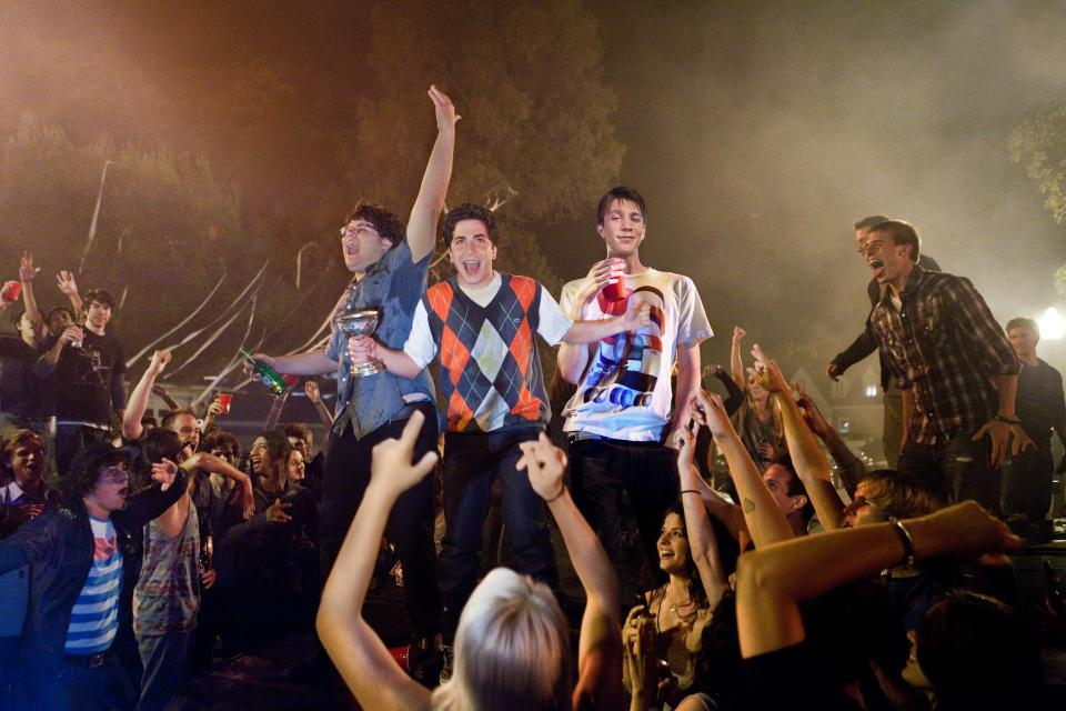 """Thomas Mann, Jonathan D. Brown, and Oliver Cooper stand in the midst of their raging party, the subject of director Nima Nourizadah's newest young adult film, """"Project X."""""""