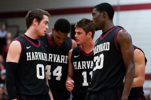 From left, sophomore Laurent Rivard, seniors Keith Wright and Oliver McNally, and junior forward Kyle Casey have helped bring about a men's basketball renaissance at Harvard.