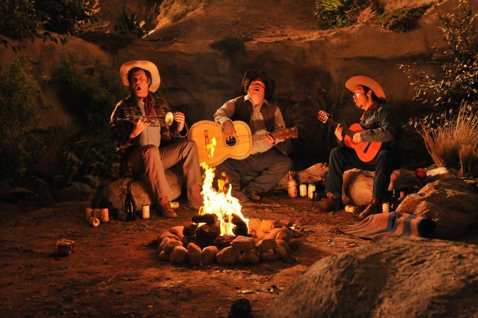 "Will Ferrell, starring in ""La Casa de mi Padre"" as Armado, sings alongside Manuel (Adrian Martinez), and Esteban (Efren Ramirez) during one of the comedy's scenes."