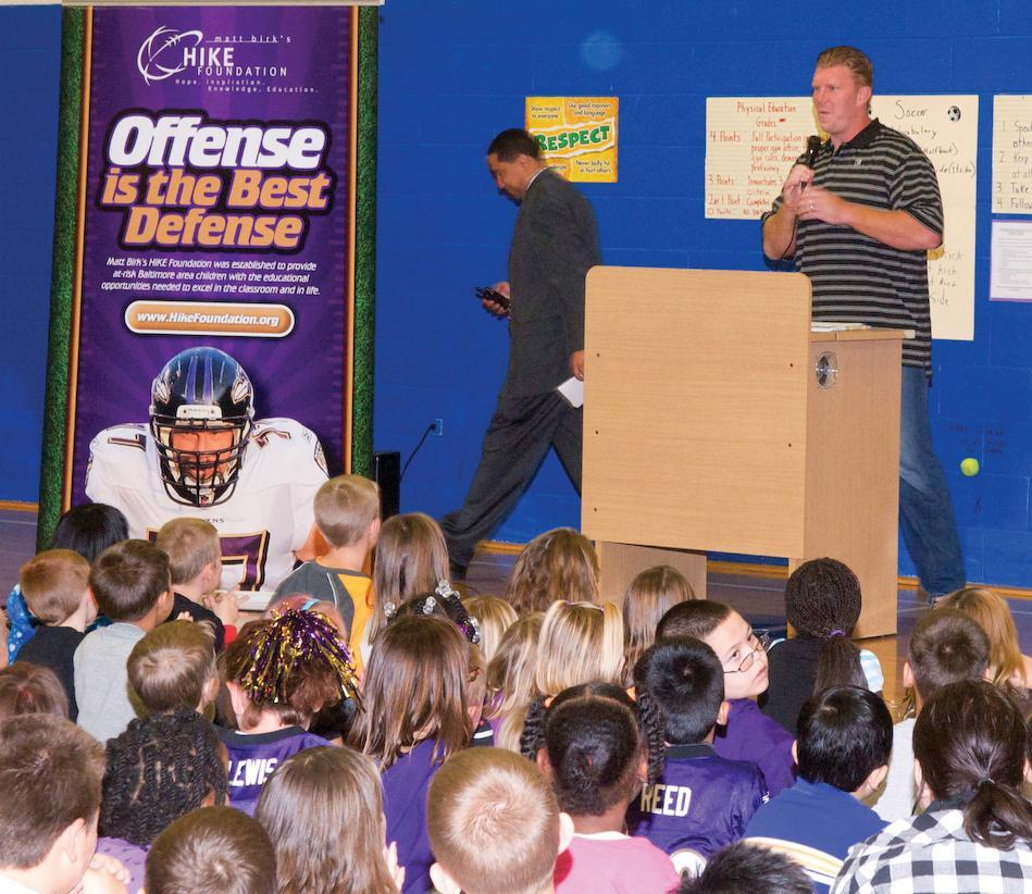 Adding to his numerous accolades for his on-field play, Ravens center Matt Birk '98 was named the 2011 Walter Payton NFL Man of the Year for his work promoting reading and education in schools in and around Baltimore, Md. through his HIKE Foundation.
