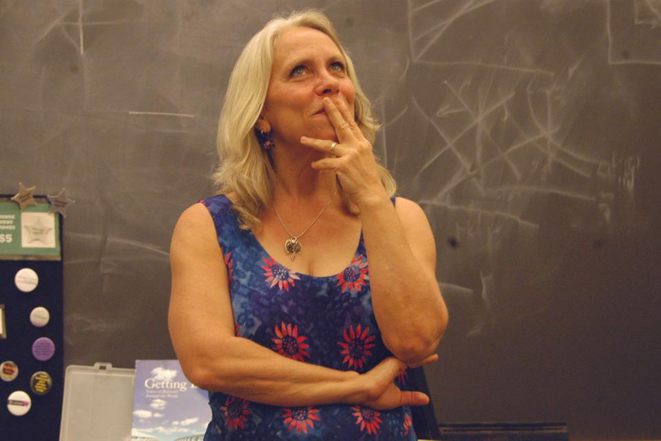 Speaker Robyn Ochs contemplates a question about sexuality. Ochs led a talk about feminism and sexuality in Boylston on Friday.