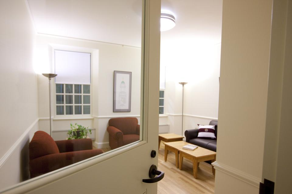 "Quincy residents can expect common rooms resembling this life-sized mock-up when they move back into Old Quincy in Fall 2013 after its renovation. Old Quincy has been called a ""test project"" in the University's plans to renew all 12 Houses."