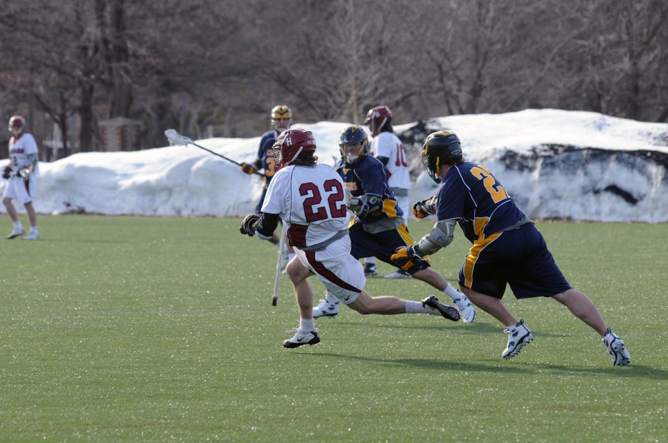 Sophomore attackman Daniel Eipp, shown here in earlier action, and a potent Harvard offense will look to be firing on all cylinders as it travels to Amherst Tuesday night to take on No. 3 UMass. The Crimson is trying to make it three in a row against its cross-state rival.