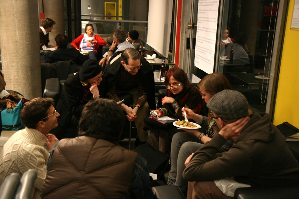 """Students, faculty, and community members gather at """"BYO: Unstable Art [Art and the Occupy Movement]"""" to discuss the importance of arts, aesthetics, and creativity in the context of the Occupy Movement."""