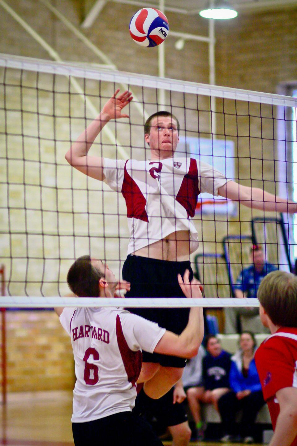 Sophomore Michael Owen, shown above in Saturday's matchup against NJIT, tallied three kills and two digs during the Harvard men's volleyball team's 3-1 victory over Rutgers-Newark on Friday night.