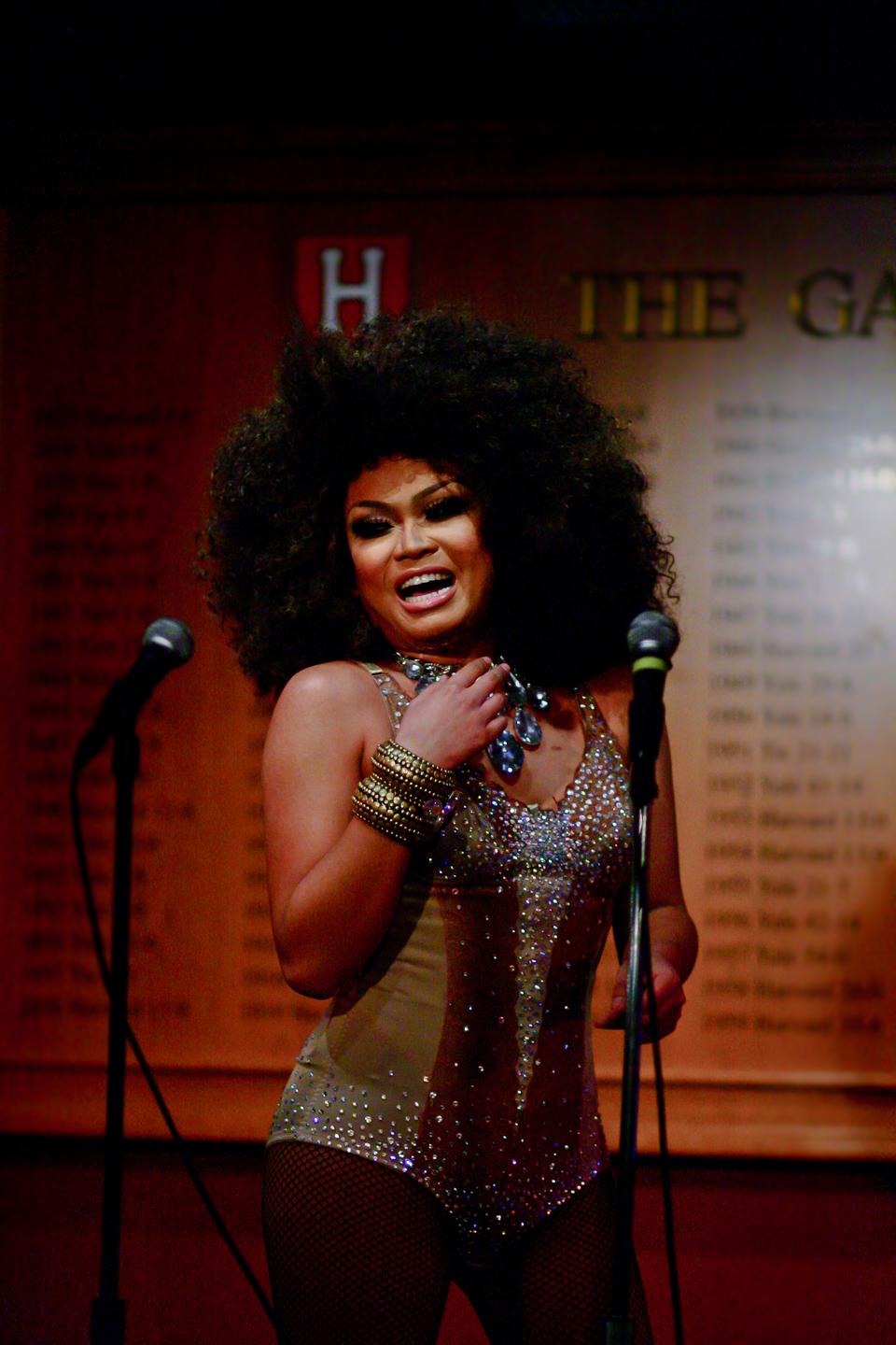 Jujubee, star of the television show RuPaul's Drag Race, performs as a special guest on Saturday night's Drag Night, held by Harvard's Queer Straight Alliance.