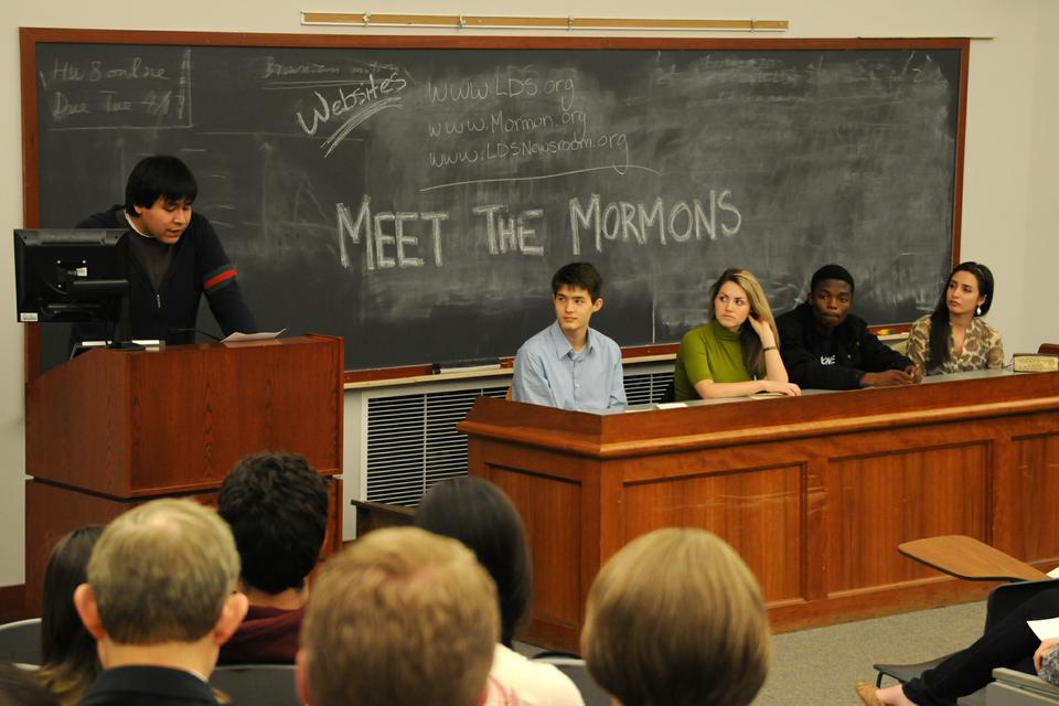 """At the annual """"Meet the Mormons"""" panel organized by the Harvard Latter-day Saint Student Association, Brad talk speaks about his experience of the faith alongside student panelists (from left) Philip M. Ngo '14, Crystal D. Trejo '13, Hope T. Ndhlovu '15, and Alexis Ixtlahuac '12."""