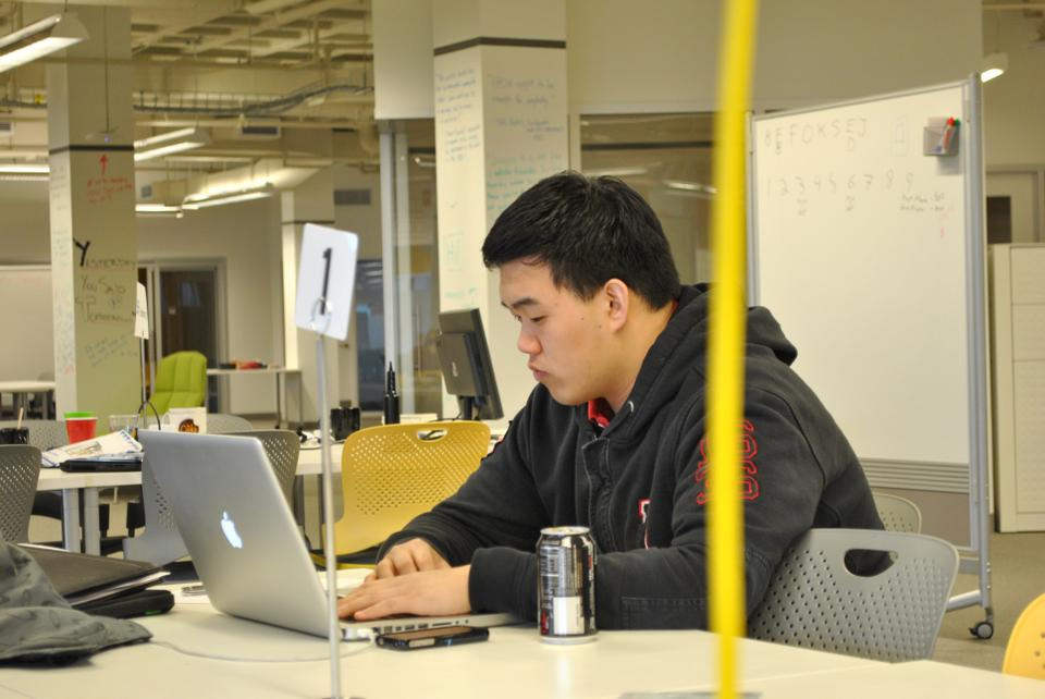 Ko at work on his start-up in the iLab, after most have cleared out for the evening.
