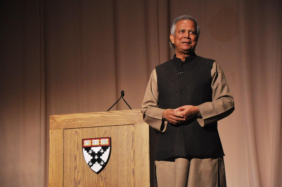 Muhammad Yunus, Nobel Peace Prize laureate and founder of Grameen Bank speaking at the Harvard Business School's Burden Auditorium about his efforts to build and expand social enterprises and healthcare initiatives in Bangladesh.