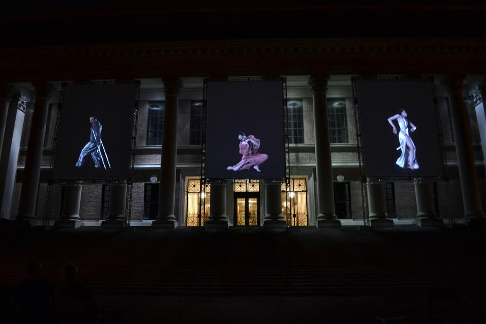 Slow Dancing, by David Michalek, is a video installation featuring larger-than-life, hyper-slow-motion video portraits of dancers and choreographers to offer insight into the physics of movement. This exhibition will be on display at the facade if Widener Library every night throughout Arts First week.